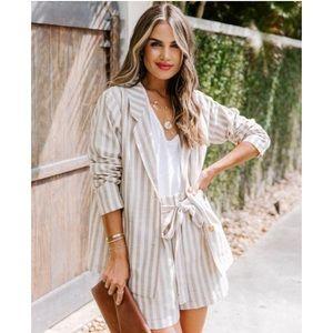 Vici striped linen blazer